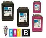 4 Piece Bulk Set Hewlett Packard HP65XL Ink Cartridges